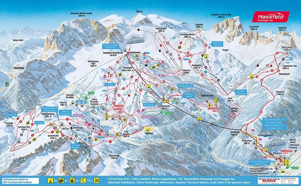 Pisten und Lifte im Skigebiet Nassfeld
